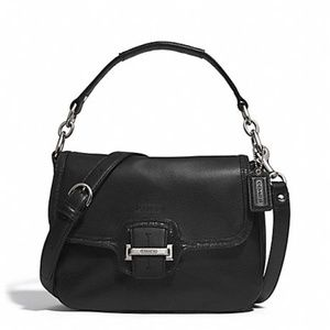 COACH Taylor Leather Flap Crossbody Black/Silver